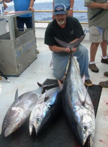Three big bluefin, up to 115#